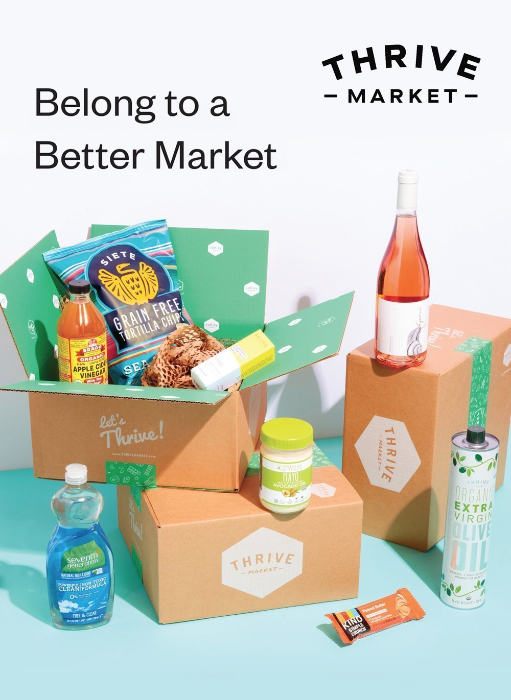 Thrive Market product samples including Siete chips, Kind bars and Seventh Generation soap for ingredient links
