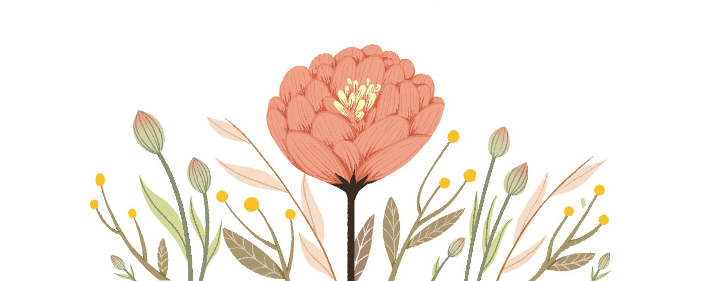 Beautiful blooming flower with surrounding leaves and buds by artist Elizabeth Gu