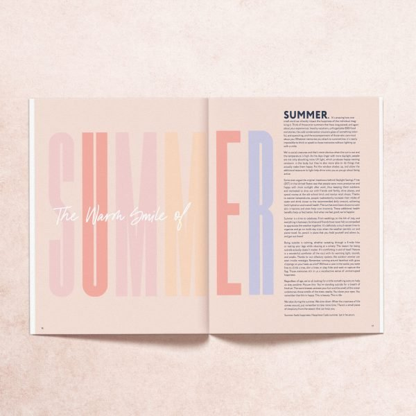 Open print magazine pages from Summer 2019 issue introduction