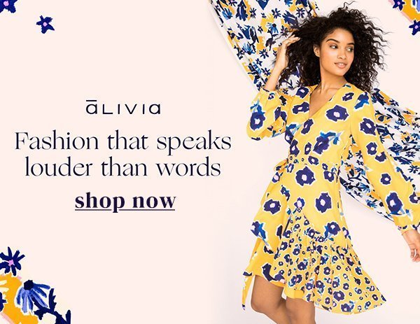 Partner feature for Alivia fashion with print dress and shopping link
