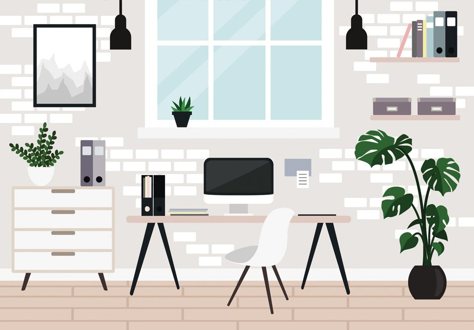 Art example of clean work from home office environment
