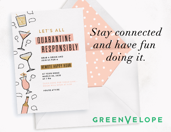 Example of a Greenvelope invitation for remote happy hour to connect during quarantine