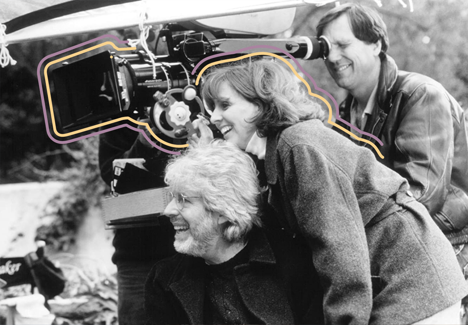 Nancy Meyers on the set of Father of the Bride Part II in 1995