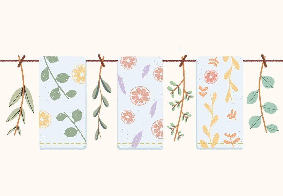Citrus and Greenery-Stamped Tea Towels