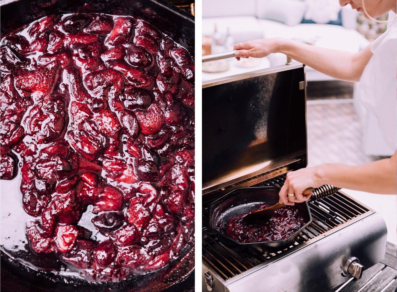 Grilled Strawberry Cherry Compote & Vanilla Ice Cream