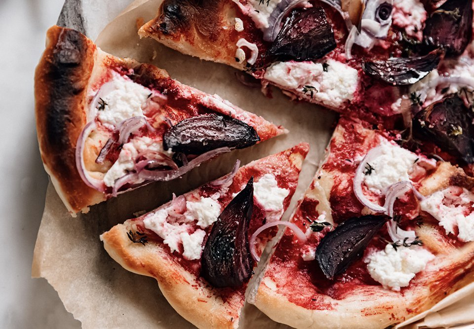 Ricotta, Roasted Beet and Thyme Pizza